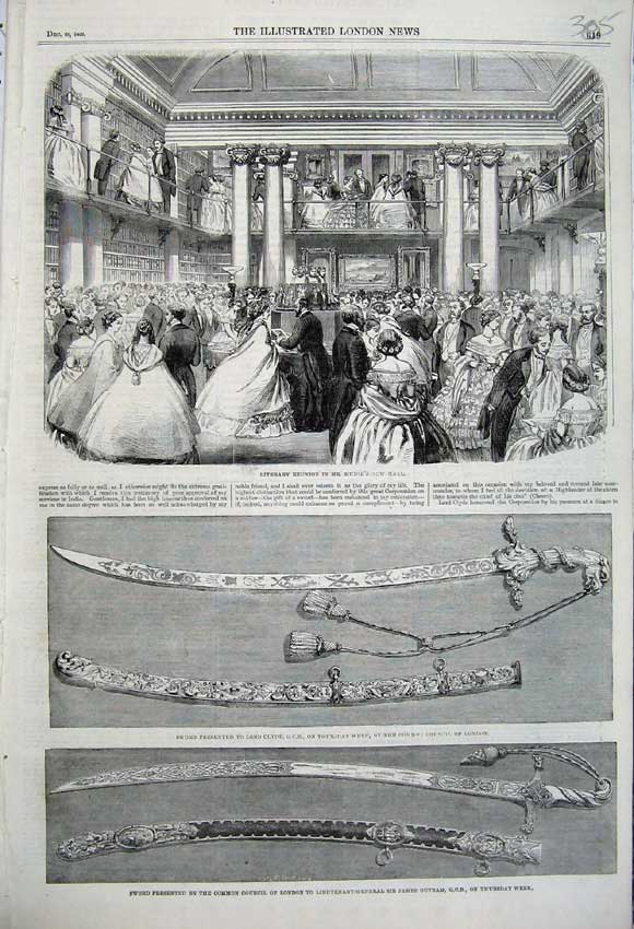 Print 1860 Literary Reunion Sword Lord Clyde James Outram 305N110 Old Original