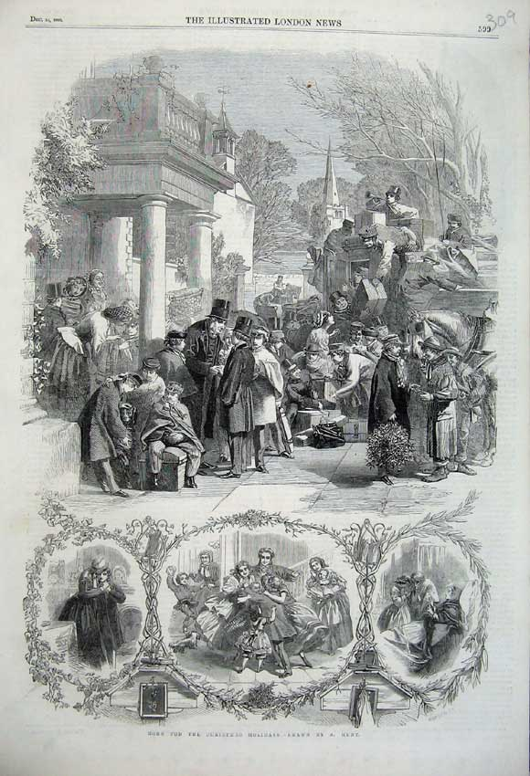 Print 1860 Soldiers Home Christmas Holidays Familes Parties 309N110 Old Original