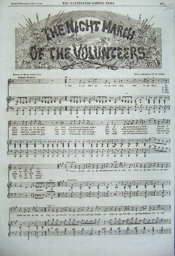 Print 1860 Sheet Music Song Night March Volunteers Lemon 312N110 Old Original