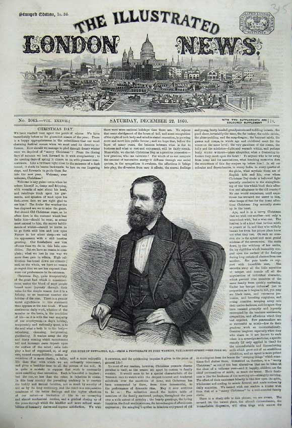 Print 1860 Portrait Duke Newcastle John Watkins Parliament 315N110 Old Original