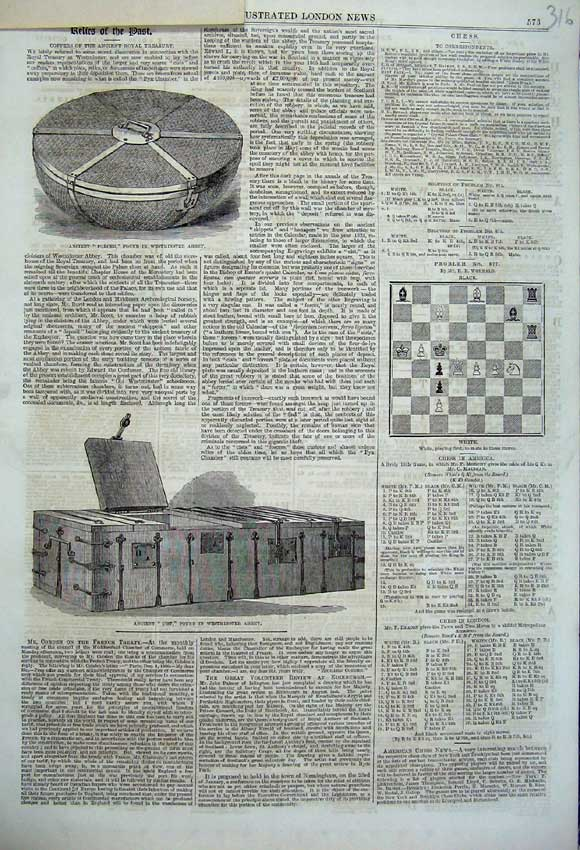 Print 1860 Forcer Westminster Abbey Ancient Cist Chess Board 316N110 Old Original