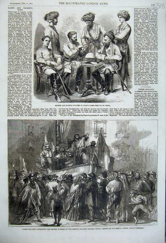 Print Padre Giovanni Jesuits College Naples 1860 China Fane 318N110 Old Original