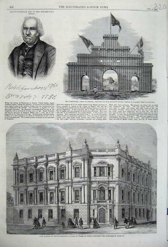 Print 1860 Offices Metropolitan Works Lumberers Arch Ottawa 320N110 Old Original