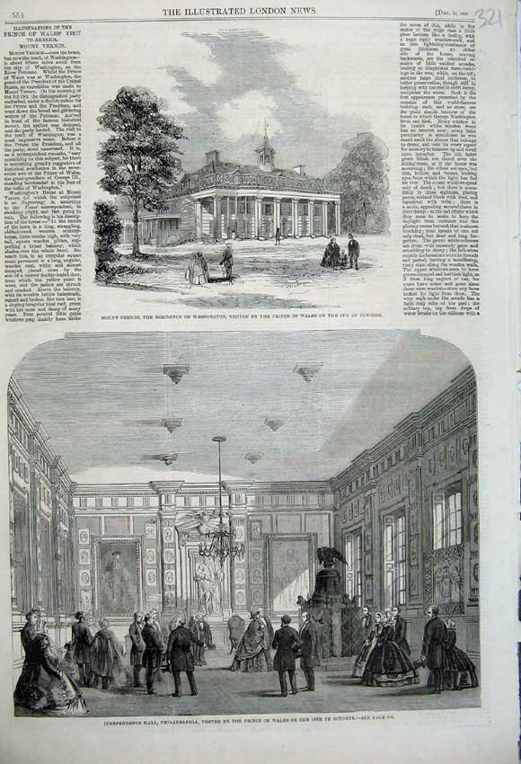 Print 1860 Mount Vernon Washington Independence Hall America 321N110 Old Original