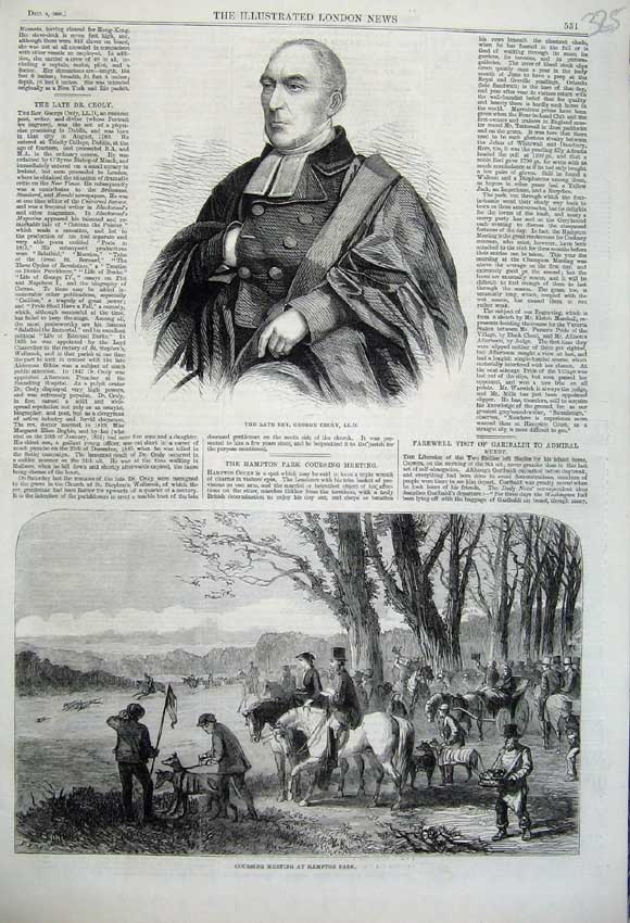 Print 1860 Rev George Croly Hare Coursing Meting Hampton Park 325N110 Old Original