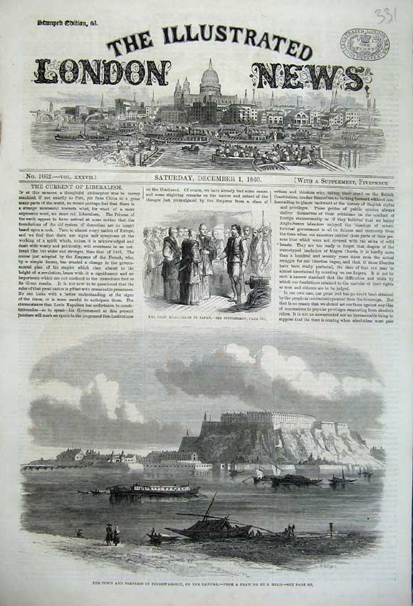 Print 1860 Englishman Japan Town Fortress Peterwardein Danube 331N110 Old Original