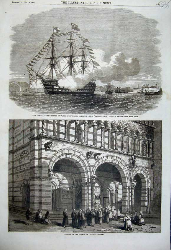 Print 1860 Prince Plymouth Impregnable Ship Cathedral Lucca 335N110 Old Original