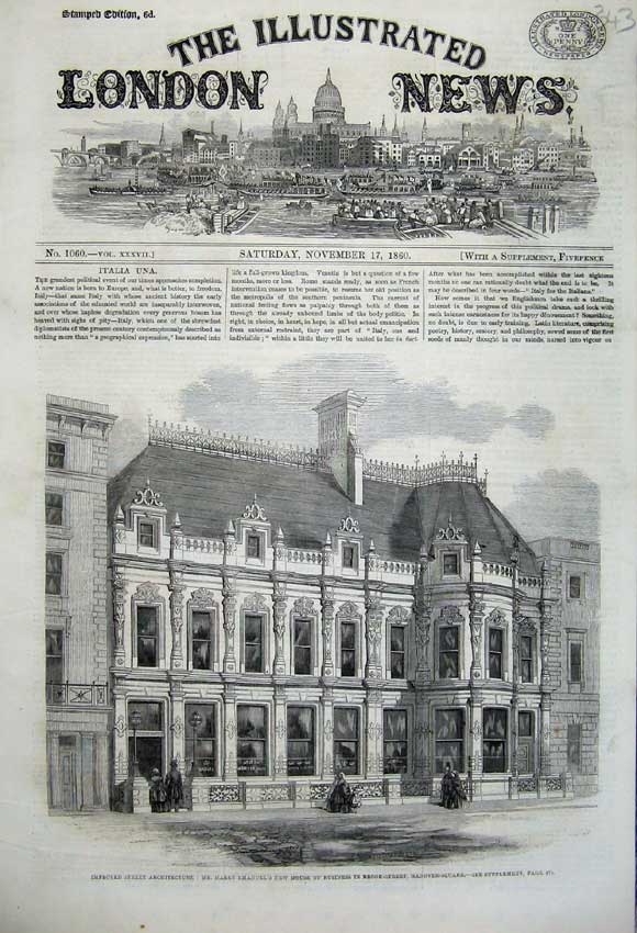 Print 1860 Architecture Harry Emanuel'S House Brook Street 343N110 Old Original