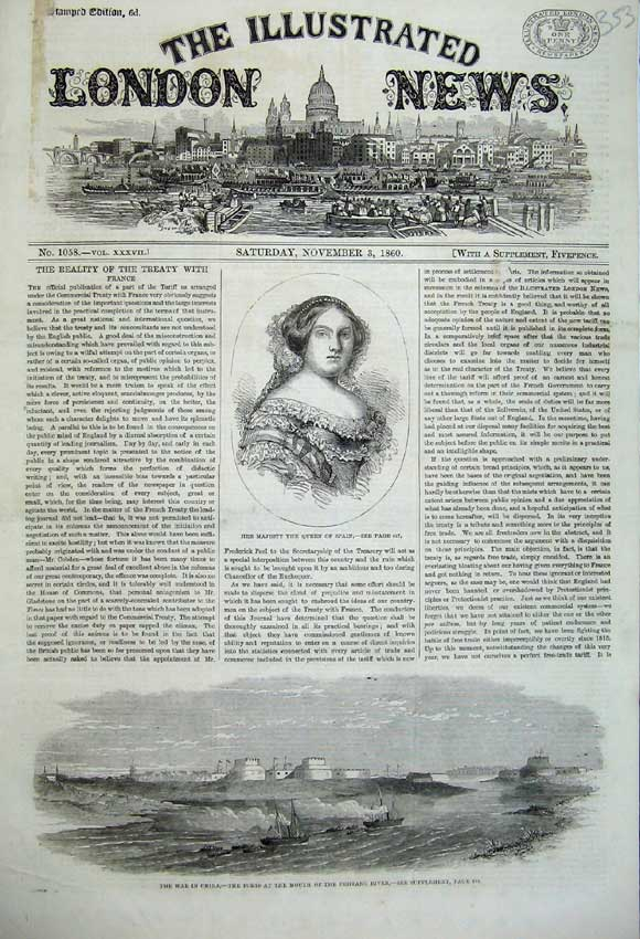 Print 1860 Queen Spain War China Forts Pehtang River Ships 353N110 Old Original