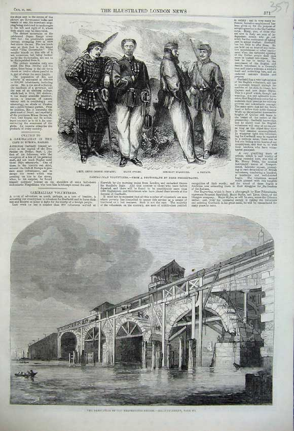 Print 1860 Garibaldi Volunteers Westminster Bridge Demolition 357N110 Old Original