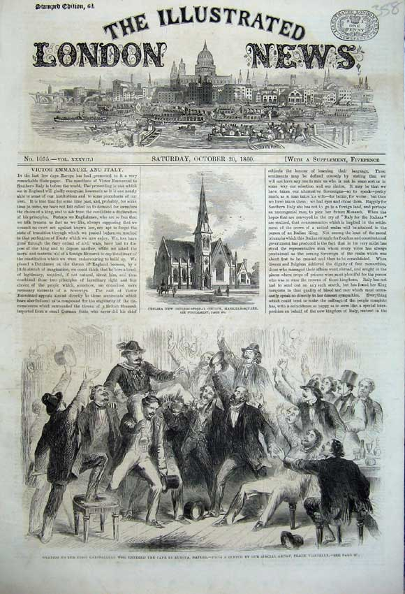 Print 1860Ovation Garibaldi Caf� Europa Naples Church Chelsea 358N110 Old Original
