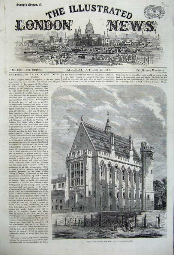 Print 1860 View Inner Temple New Law Library Architecture 361N110 Old Original