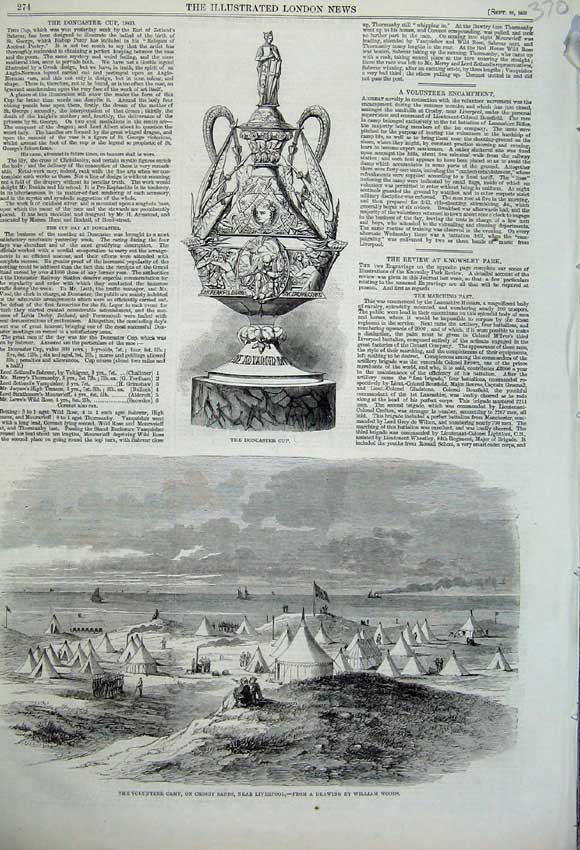 Print 1860 Doncaster Cup Volunteer Camp Crosby Liverpool 370N110 Old Original