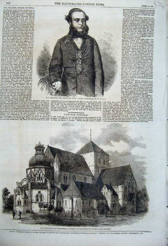 Print 1860 Portrait Pearson Mayor Hull Cathedral Drontheim 374N110 Old Original