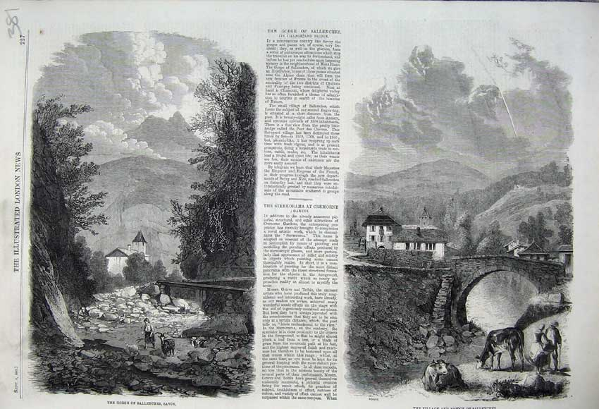 Print 1860 Gorge Sallenches Savoy Village Bridge Mountains 381N110 Old Original