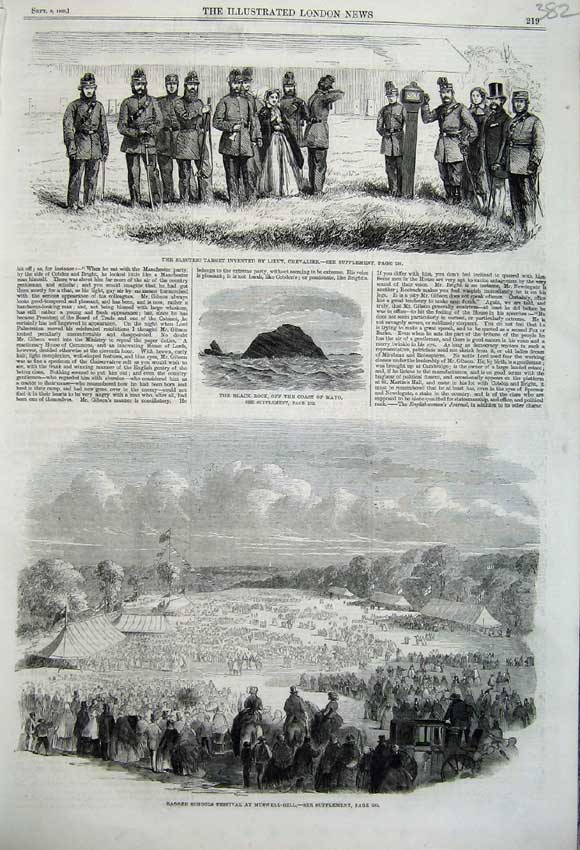 Print 1860 School Festival Muswell Black Rock Mayo Soldiers 382N110 Old Original