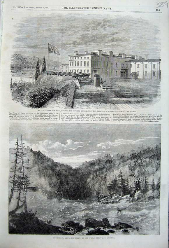 Print 1860 Parliament Buildings Quebac Canada Niagara River 389N110 Old Original