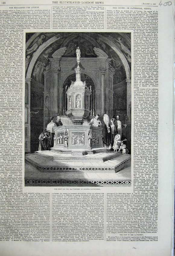 Print 1860 Font Baptistery Sienna Cathedral Church Duomo 400N110 Old Original
