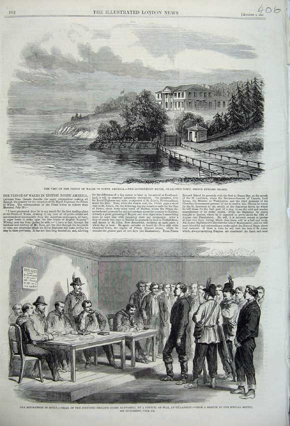 Print 1860 Government House Charlotte Edward Sicily War Trial 406N110 Old Original