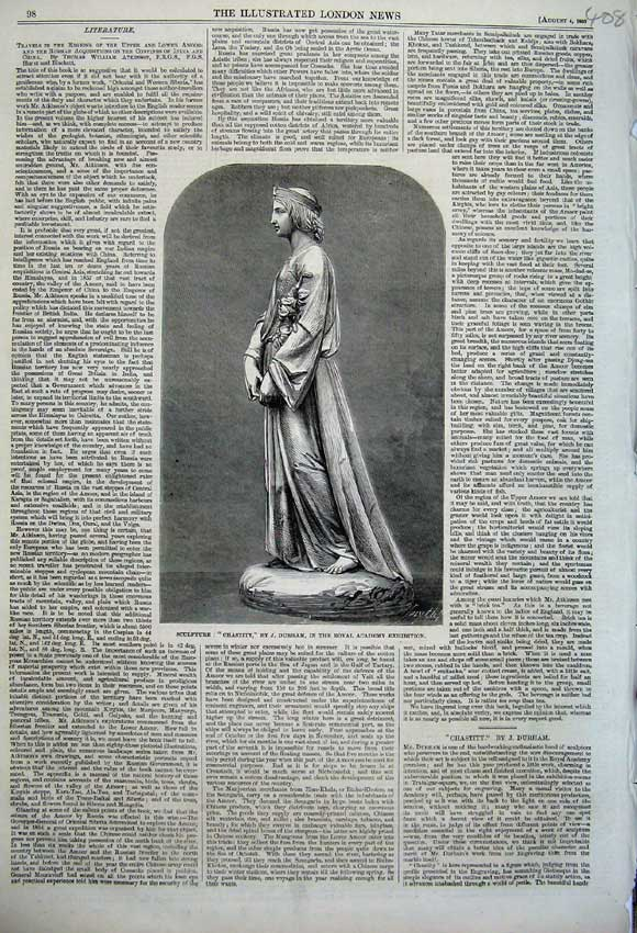 Print 1860 Sculpture Chastity Durham Royal Academy Exhibition 408N110 Old Original