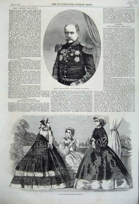 Print 1860 Count Gyldenstolpe Marshal Sweden Paris Fashion 410N110 Old Original