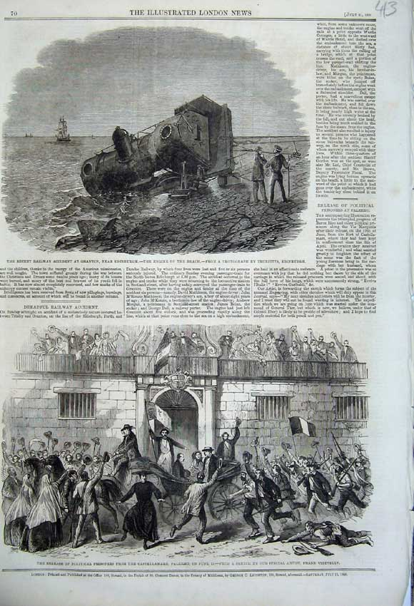 Print 1860 Railway Train Granton Scotland Castellamare War 413N110 Old Original