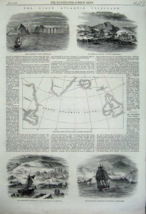 Print 1860 Atlantic Telegraph Julianshaab Cape Farewell Ships 422N110 Old Original