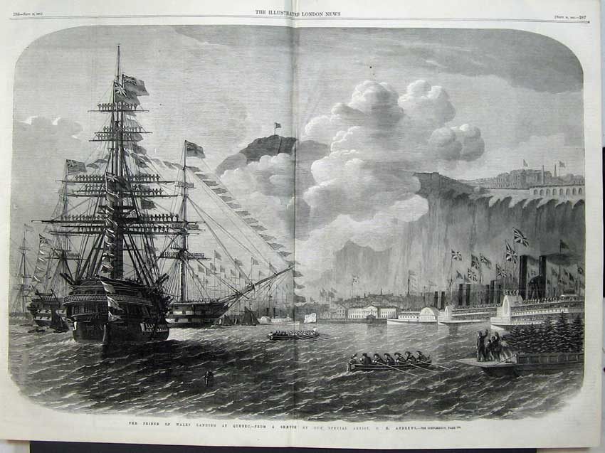 Print 1860 Prince Wales Sail Ship Landing Quebec Canada Flags 512Tn110 Old Original
