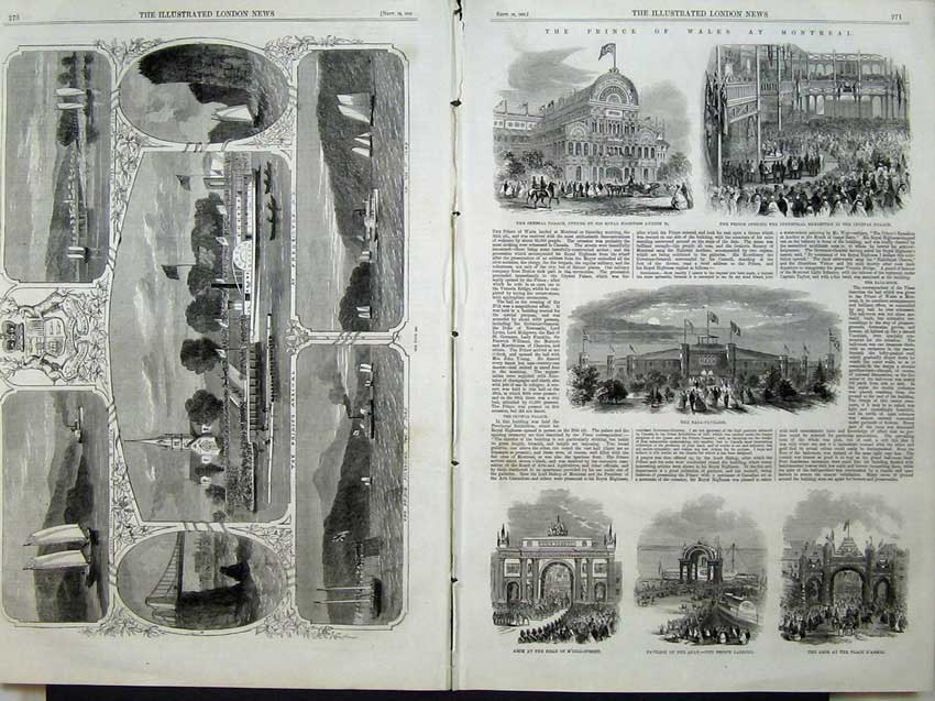 Print 1860 Prince Wales Canada Pavillion Arch Ship Yacht 514Tn110 Old Original
