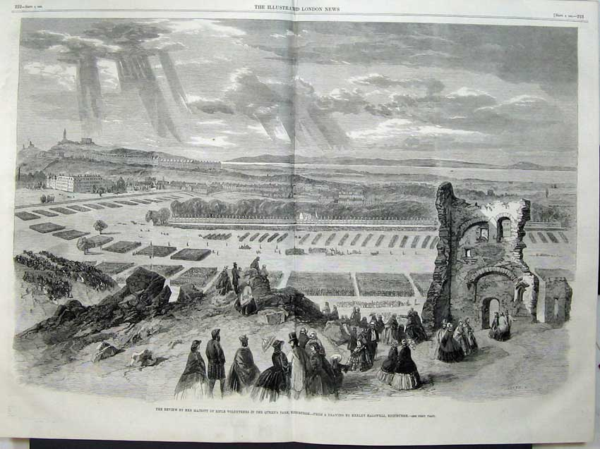Print 1860 Queen Rifle Volunteers Queens Park Edinburgh 516Tn110 Old Original