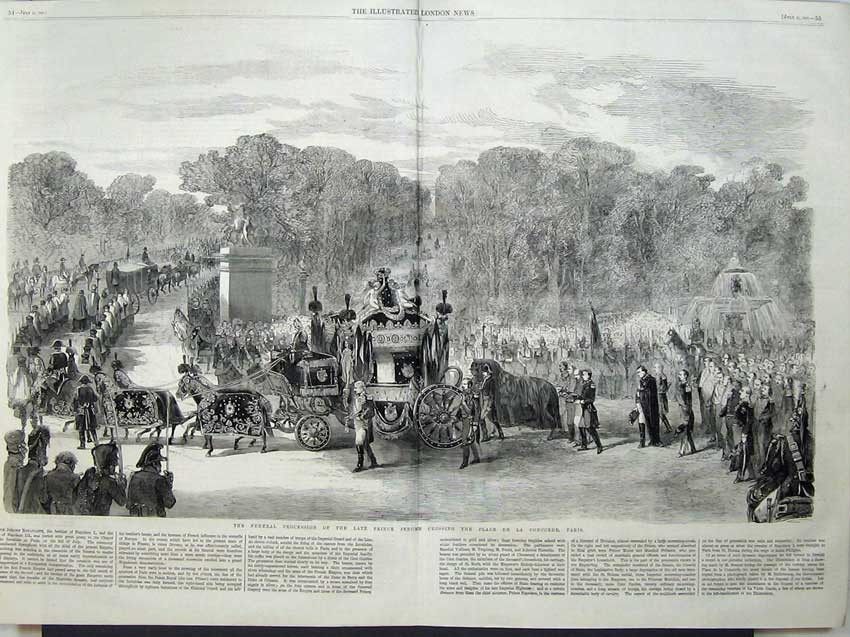Print 1860 Funeral Prince Jerome Place De La Concorde Paris 522Tn110 Old Original
