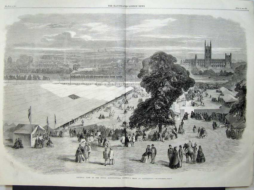 Print 1860 View Royal Agricultural Show Canterbury Train 523Tn110 Old Original