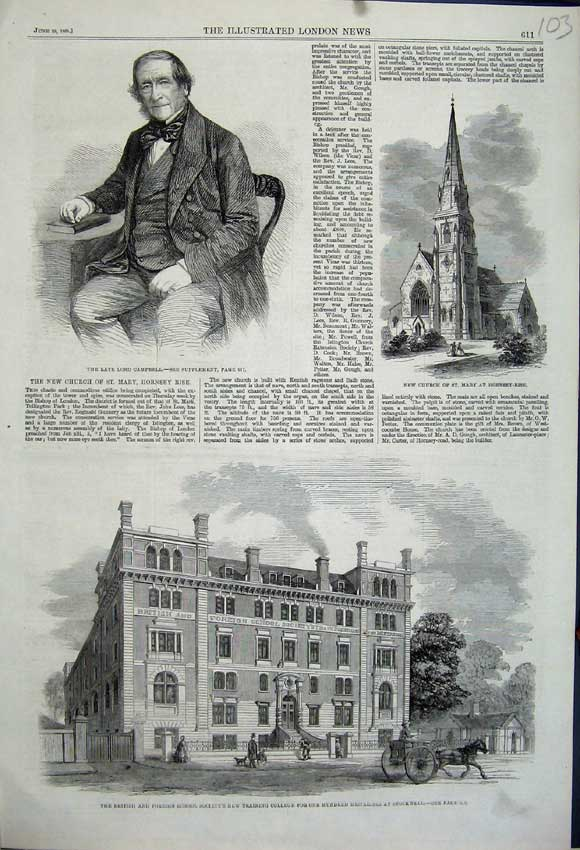 Print 1861 Training College Stockwell Lord Campbell Church 103N111 Old Original