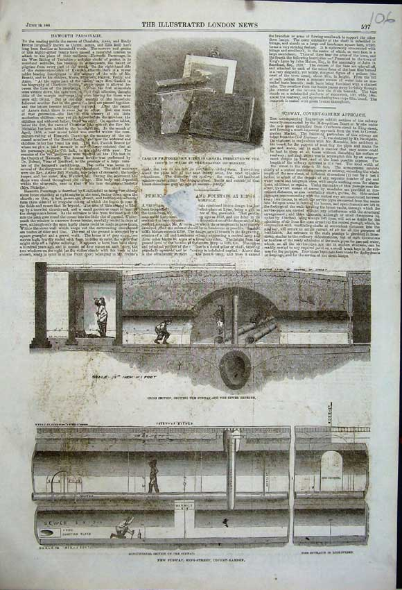 Print 1861 Subway Covent Garden Sewer London Prince Wales 106N111 Old Original