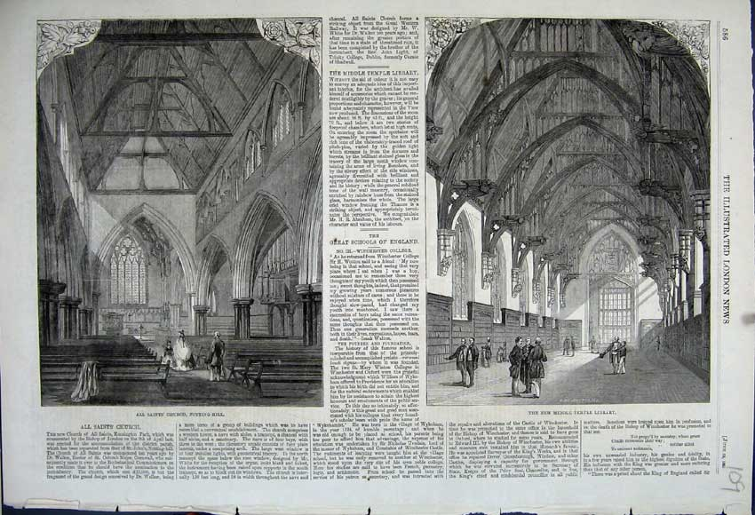 Print 1861 Middle Temple Library Saints Church Notting-Hill 109N111 Old Original