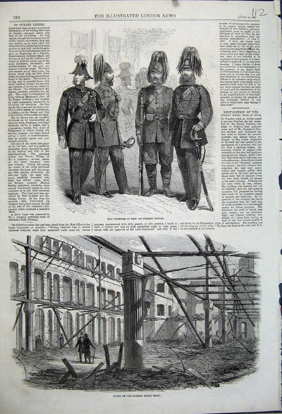 Print 1861 Ruins Surrey Music Hall Uniform Surrey Rifles Men 112N111 Old Original