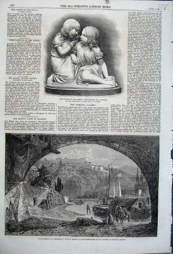 Print 1861 British Artists Leitch River Rhine Sculpture Munro 118N111 Old Original