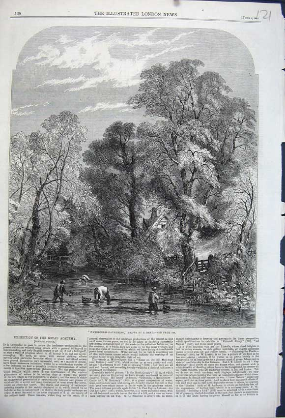 Print 1861 Country Scene Watercress Gathering Lake Read 121N111 Old Original