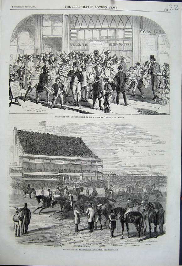 Print 1861 Derby Day Horse Racing Winner Bells Life Office 122N111 Old Original