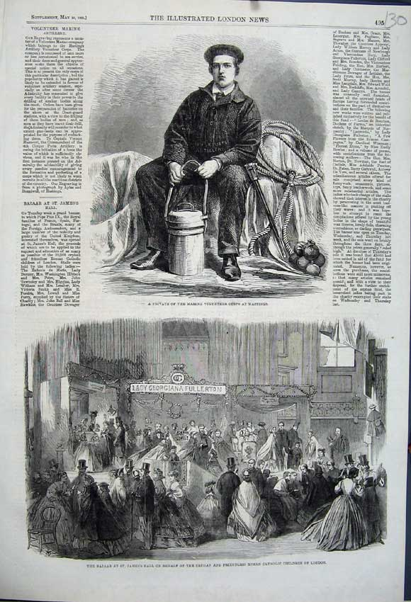 Print 1861 Bazaar James Hall Orphan Catholic Children Marine 130N111 Old Original