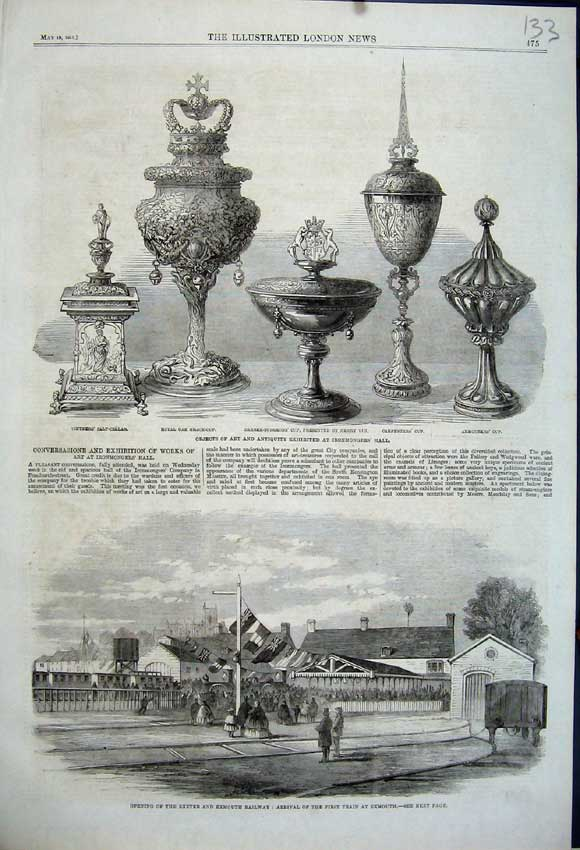 Print 1861 Exeter Exmouth Railway Train Royal Oak Cup Henry 133N111 Old Original