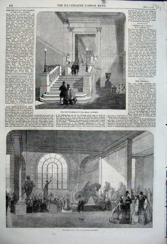 Print 1861 Sculpture Room Royal Academy New Staircase Statue 134N111 Old Original