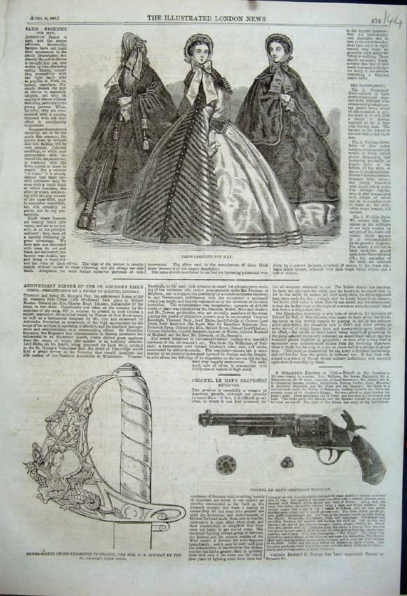 Print 1863 Colonel Mat'S Revolver Sword Lindsay Paris Fashion 144N111 Old Original