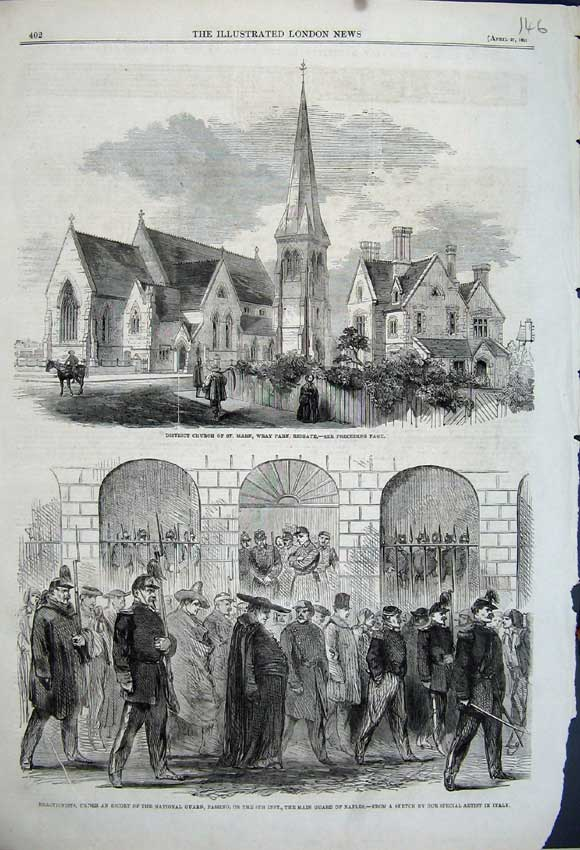 Print 1861 Church Mary Wray Reigate Reactionist Guard Naples 146N111 Old Original