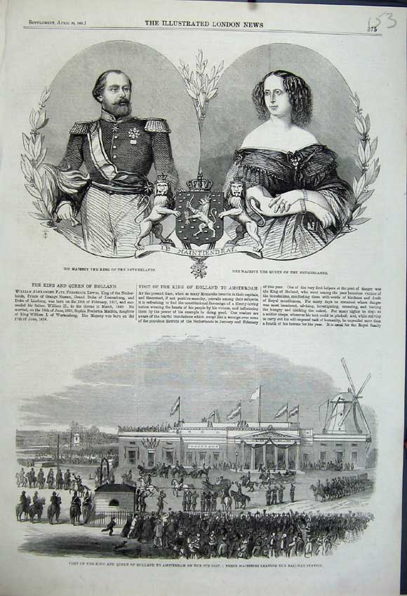 Print 1861 King Holland Amsterdam Railway Netherlands Queen 153N111 Old Original