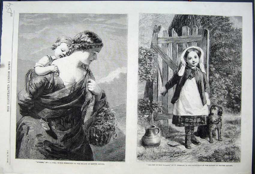 Print 1861 British Artists Girl Puppy Dog Mother Child Basket 154N111 Old Original