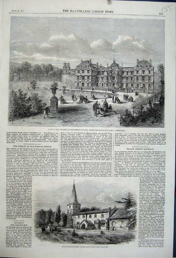 Print 1861 Palace French Senate Luxembourg Madingley Church 155N111 Old Original