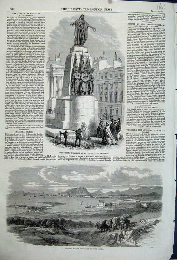Print 1861 Marsala Coast Sicily Guards Memorial Pall Mall 161N111 Old Original
