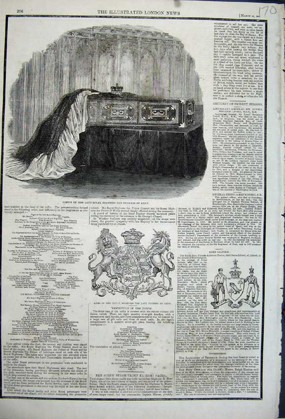 Print 1861 Coffin Royal Highness Duchess Kent Arms Royal 170N111 Old Original
