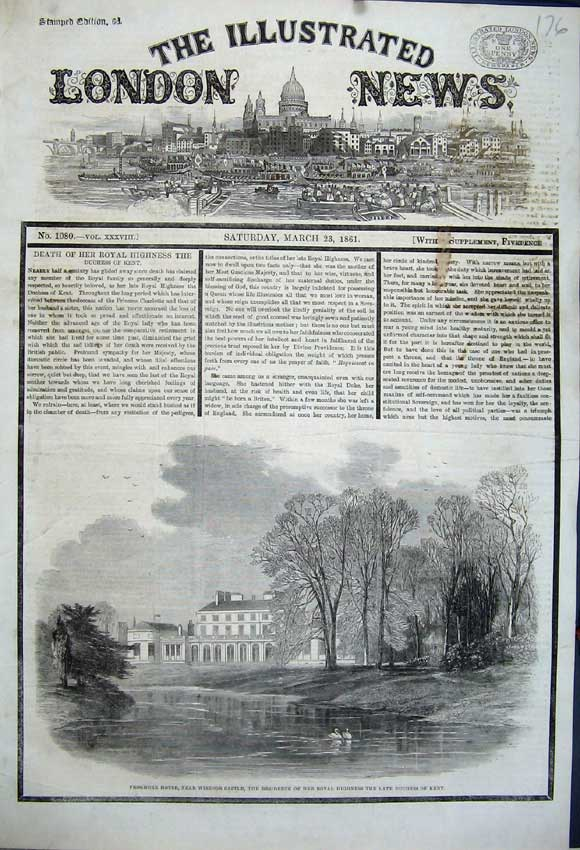 Print 1861 Frogmore House Windsor Castle Duchess Kent Swans 176N111 Old Original